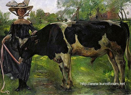 """Lovis Corinth, """"Mädchen mit Stier (Charlotte)"""", 1902; Leihgabe der Hamburger Kunsthalle"""