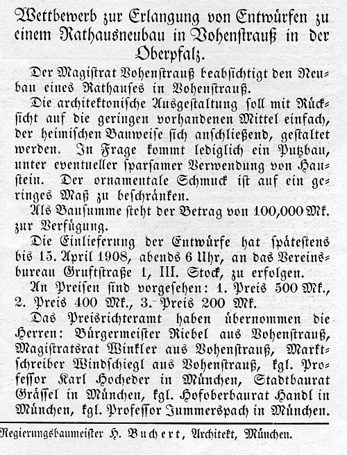 Ausschreibung in Heft  2, Jg. 6, 1908, S.24