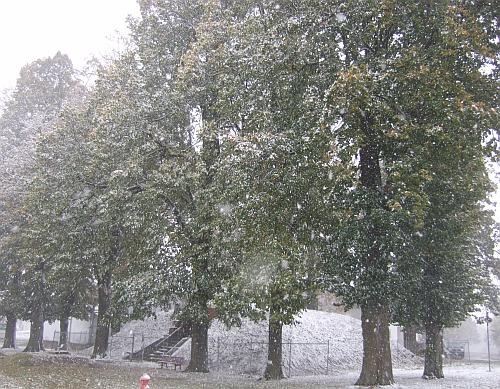 Wasserreservoir Vohenstrauß, erster Schnee im Oktober 2009