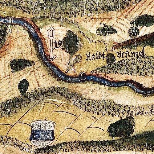 """Ausschnitt Landkarte """"Prager Straße"""", 1623, StAA Plan 3100, Krausen 538"""