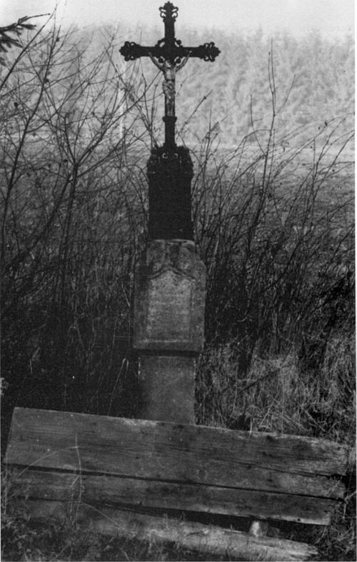 Bildstock mit Gusskreuz und Totenbrettern am Mitterlangauer Kirchsteig, Foto Peter Staniczek, 1984