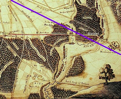 Straßenkarte aus der 1. Hälfte des 17. Jahrhunderts